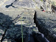 Rock Climbing Photo: Looking down Pitch 9. Climb the offwidth or finger...