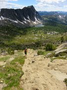 Rock Climbing Photo: The easy scree descent back to Upper Cathedral Lak...
