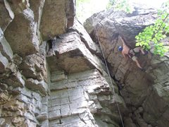 Rock Climbing Photo: Me on Belly of the Whale, 5.8, Franklin Gorge. Jun...