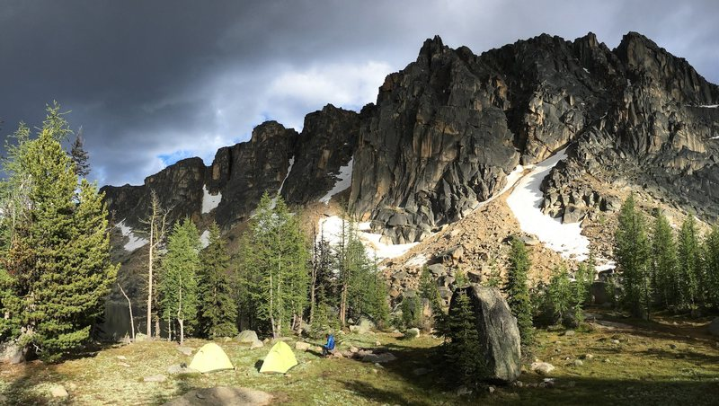 Camping at Upper Cathedral Lake. Photo by Janet Arendall.