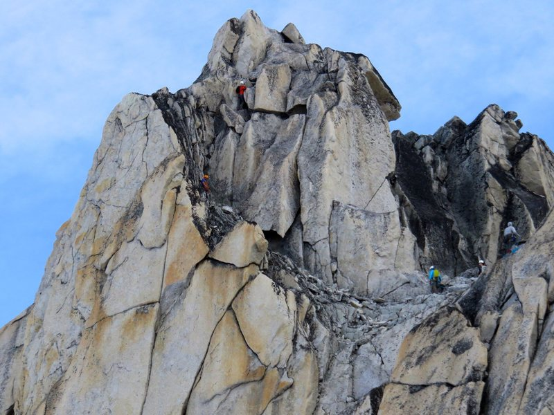 Climbers on the upper Kain Route.