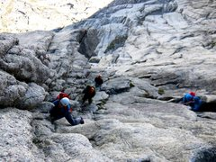 Rock Climbing Photo: Another party climbing Pitch 3. This party had bee...