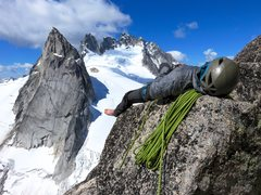 Rock Climbing Photo: Napping on Surf's Up Ledge. East Face of Pigeo...
