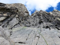 Rock Climbing Photo: Looking up the Krause-McKarthy Rappel Route line.