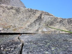 Rock Climbing Photo: The roof on Pitch 5. The route line on our route d...