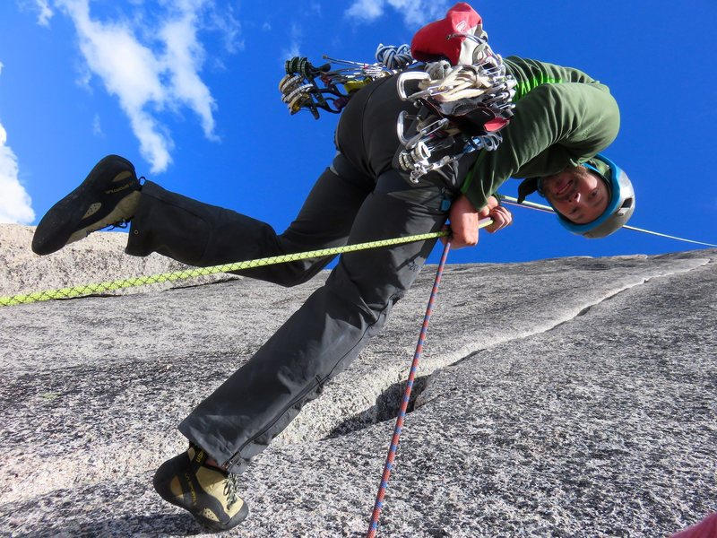 Rock Climbing Photo: The first rappel. All of the rappels are off the b...