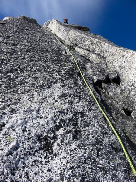 Pitch 7 (5.9 crack variation to left of chimney). This pitch got harder higher up, so we made a delicate traverse to the right back into the chimney system.