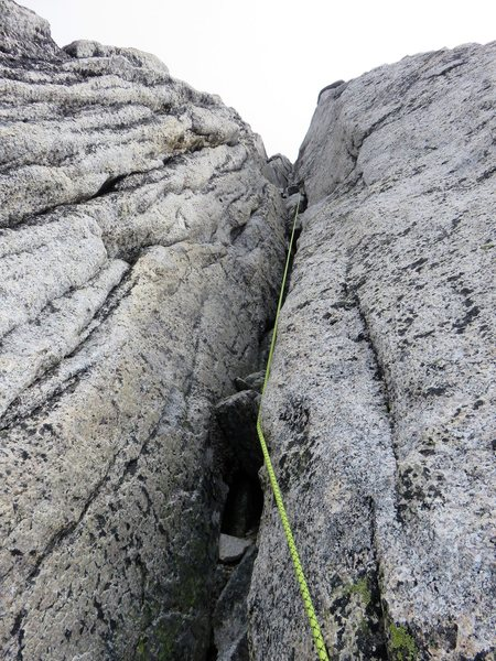 5.6 gully on Pitch 15 after tension traverse.