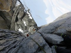 Rock Climbing Photo: Rappels 4-5 go down this corner system that faces ...