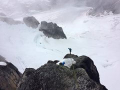Rock Climbing Photo: On the rap route. With the wind and the lower angl...