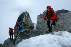 Rock Climbing Photo: On the summit. A pair of rap bolts is just around ...