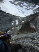 Rock Climbing Photo: After the offwidth at a rest above the fixed 4. Gr...