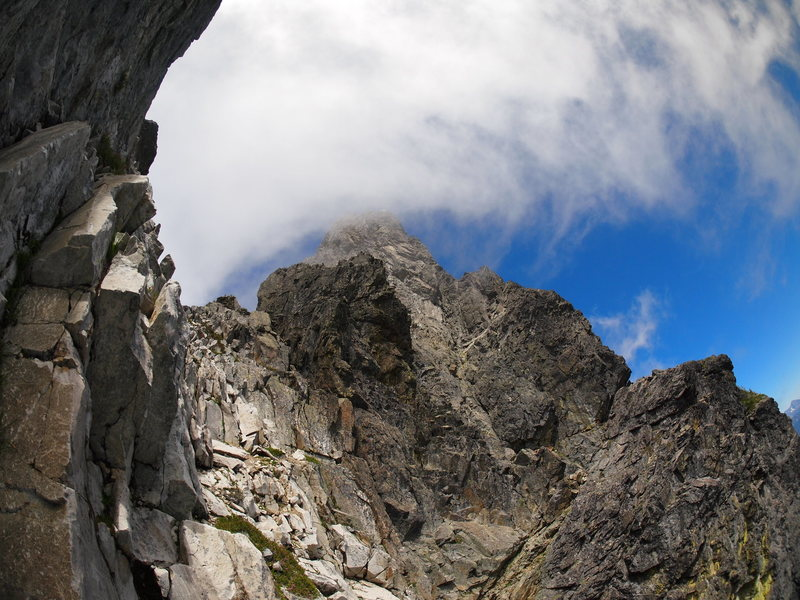 "Rock Climbing Photo: Chimney Rock summit tower from ""White Rocks&q..."