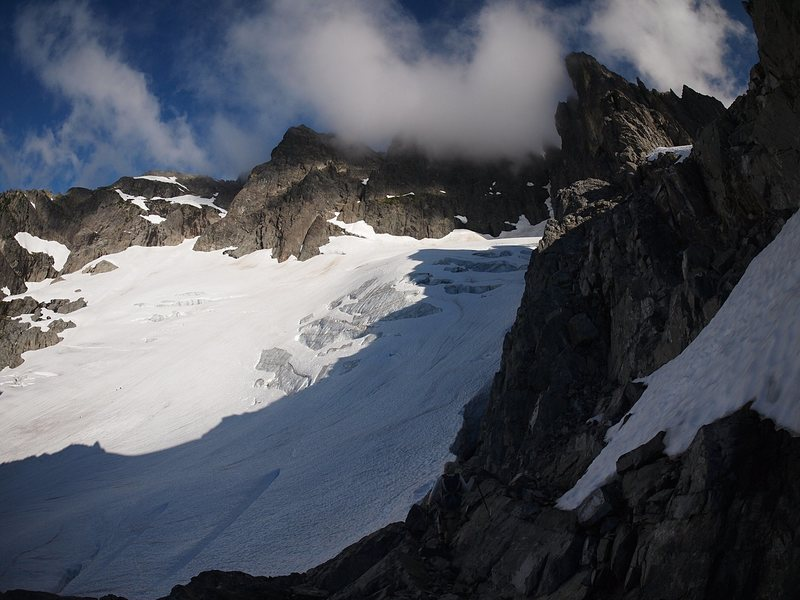 Chimney Rock massif above the dying glacier