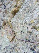 Rock Climbing Photo: Josh on the pitch 3 traverse.