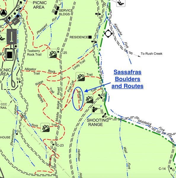 This is the Kanawha State Forest Map, and at the top of Ballard biking trail is where Sassafras Boulders and Routes are. Please stand far off the trail when bikers approach and do not leave any items such as bags or crash pads on the trial where they could block the bikers path.