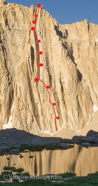 The Starlight Buttress - route outline from across