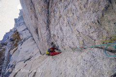 Rock Climbing Photo: Adam with a giant dihedral sweeping below