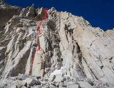 Rock Climbing Photo: Base of the route and the outline of the first few...