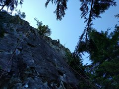 "Rock Climbing Photo: The left route (red rope) is ""A Summer Known ..."