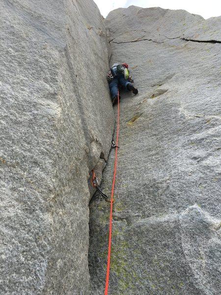 Rock Climbing Photo: Garrett Brown starting P2 corner on the last day o...