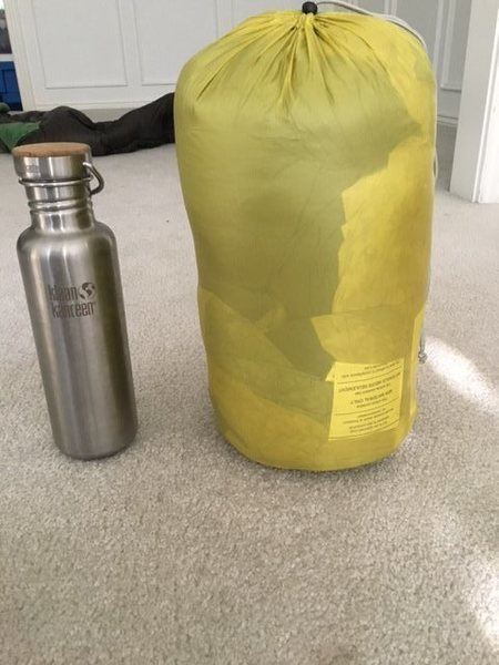 Inside compression sack. Could compress this down to half of what it is still. Next to 27oz bottle