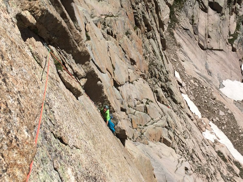 Looking back on the crux pitch from the anchor.