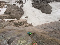 Rock Climbing Photo: Looking down the stellar, final 11 pitch, pitch 5,...