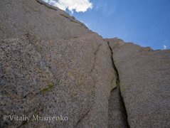 Rock Climbing Photo: Looking up at pitch 5