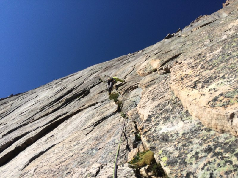 Rock Climbing Photo: Pitch 4, it's all 5.11 from here. Phil psychin...