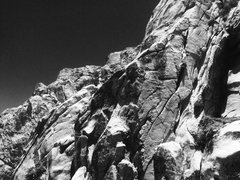 Rock Climbing Photo: Eden Anbar lost in a sea of black and white!!!
