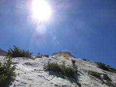 Rock Climbing Photo: Noriko on the lower slabs.