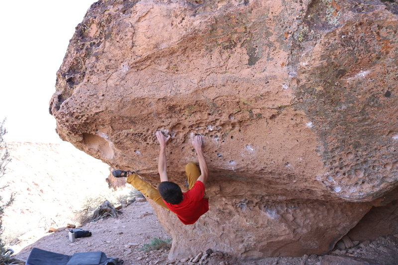 Using a heel hook for the big move up.