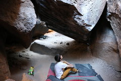 Rock Climbing Photo: The unique overhanging rock. Stays nice and cool i...