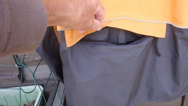 Zippered rear pocket.