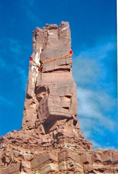 The 900' Girdle of Castleton Tower . FA Paul Ross Jeff Pheasant 2001. Showing West Face section