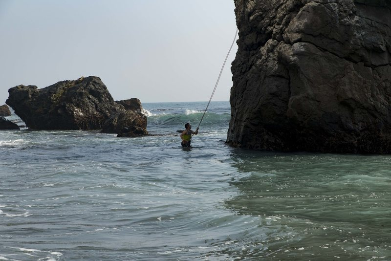 Finishing the rappel into the water. Great fun.