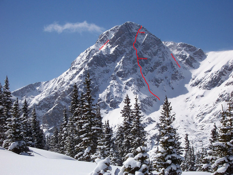 Photodiagram of the North Face of Holy Cross Mountain (winter pic borrowed from Summitpost).