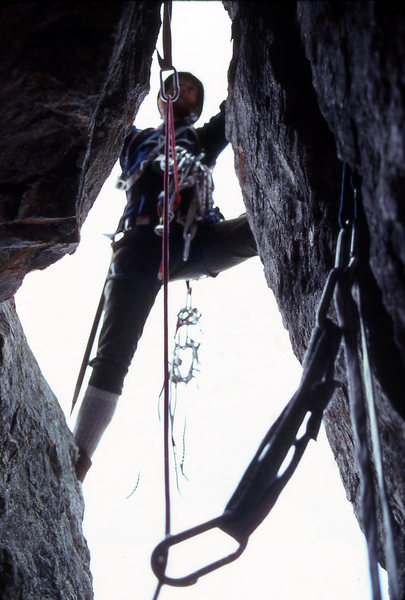 Ross Hardwick leading the chimney pitch on the first ascent.