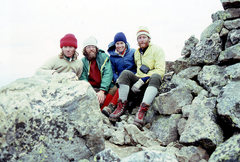 Rock Climbing Photo: The first ascent party with friends on the summit ...