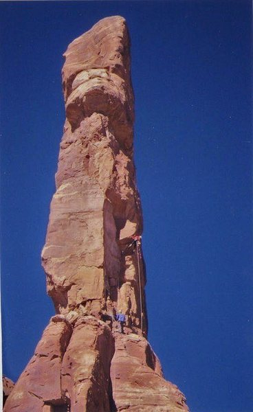 Rock Climbing Photo: FA Dreamspeaker Tower (North Face) Arch Canyon wit...