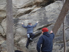 Rock Climbing Photo: Tackling his first outdoor problem.