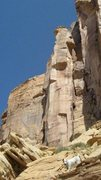 Rock Climbing Photo: FA Horus Tower San Rafael Swell (North) Utah P.Ros...