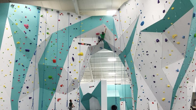Top roping and lead wall at Zenith Climbing Center