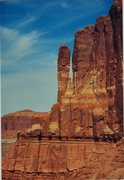 Rock Climbing Photo: FA Cenotaph Spire. Lost World Butte Area . Utah . ...