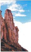 Rock Climbing Photo: FA Belfry Tower Hells Bells Route. San Rafael Swel...