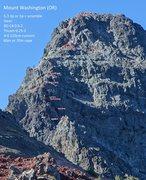 Rock Climbing Photo: Photo topo of Washington's North Ridge (OR).