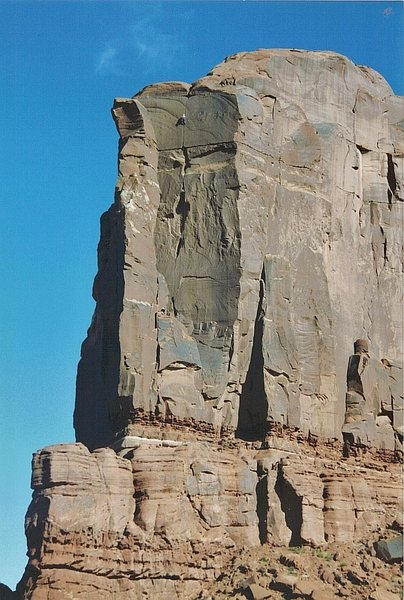 FA Rigor Mortis . Tombstone Butte .Lost World Butte area .Moab.Paul Ross. Layne Potter 2003