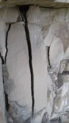 Rock Climbing Photo: Big death flakes on ledge.