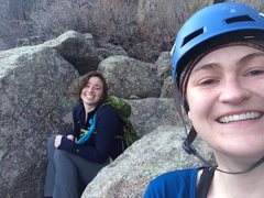 Hiding at the top with Dina, waiting for the wind to die down so we can start our rappel.